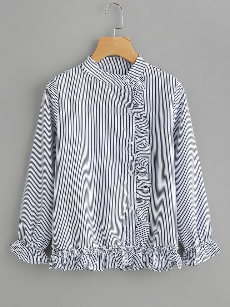 Camisa manga larga solapa fruncida