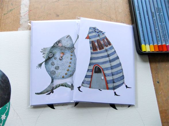 Greeting Cards Singing Fish and Stripy House Cards 4x6 £4.50
