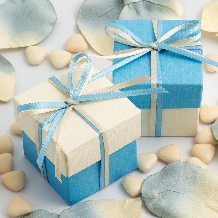 Le contenant à dragées 2 tons : ivoire et bleu