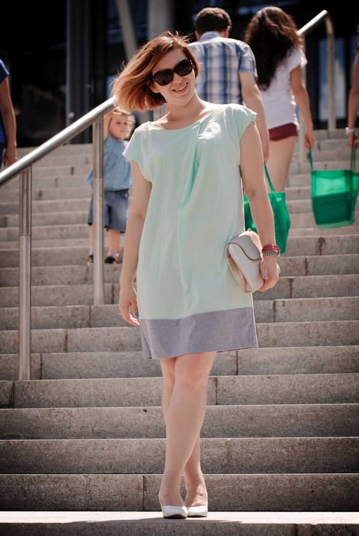 Mint dresss, white shoes