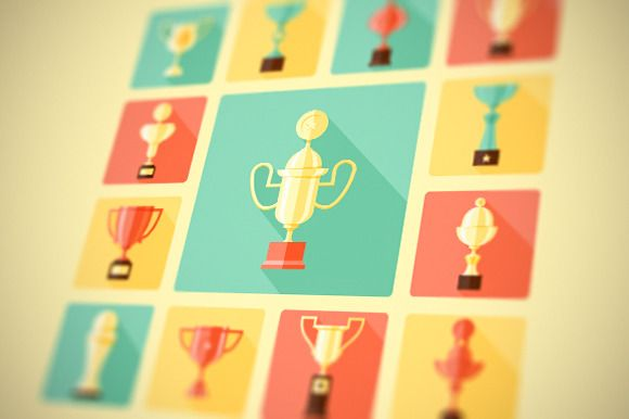 Trophy and awards icons set by painterr on Creative Market