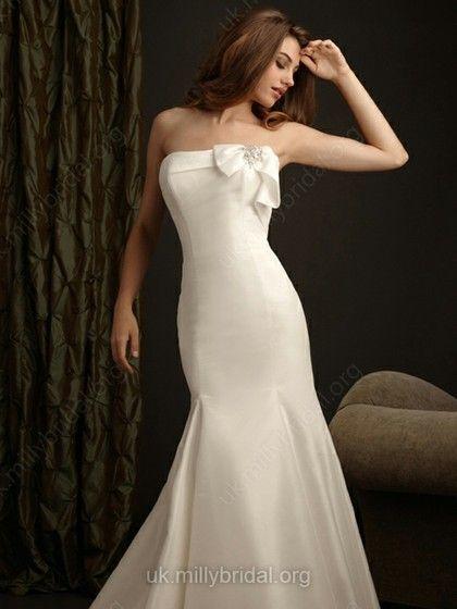 Trumpet/Mermaid Strapless Taffeta Court Train Bow Wedding Dresses -GBP£145.89