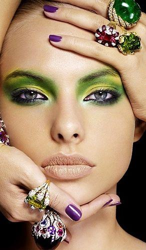 Green eyeshadow & purple nails for Mardi Gras