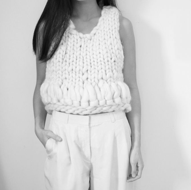 Sleeveless sweater with chunky knit detail, chic knitwear // Maria Van Nguyen
