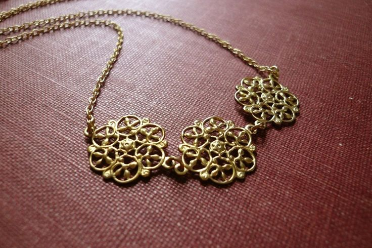 Victorian gold necklace. Filigree rounds. Romantic necklace. Feminine necklace. Small pendant necklace. Valentines Day gift for girlfriend. by minusOne on Etsy https://www.etsy.com/listing/60329119/victorian-gold-necklace-filigree-rounds