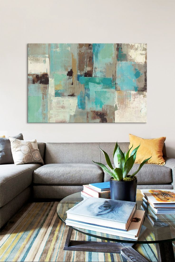 Teal & Aqua Reflections #2 by Silvia Vassileva Canvas Wall Art