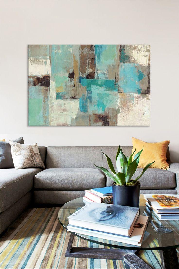 Teal & Aqua Reflections #2 by Silvia Vassileva Canvas Wall Art