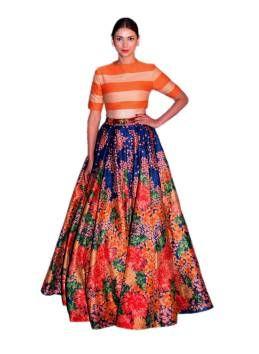 Kapadewala Orange Bangalore Silk Printed Semi stitched Free Size XXL Lehenga Choli For Women