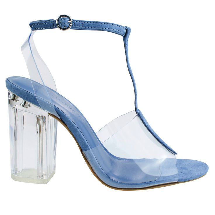 Natalie01 Blue clear perspex block heel w t strap lucite transparent straps