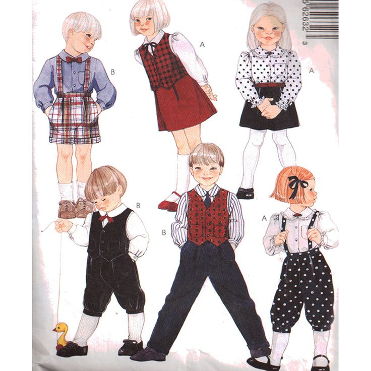 McCall's Sewing Pattern 6263 USED Boy's, Girl's Lined Vest, Skirt, Pants, Knickers, Shorts SIZE: 4