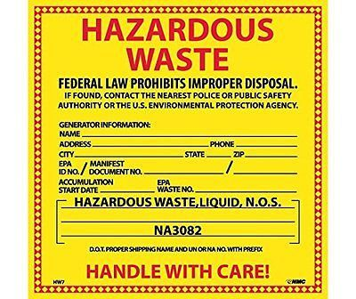 Hazardous Waste For Liquids Hazmat Label - Pack of 25