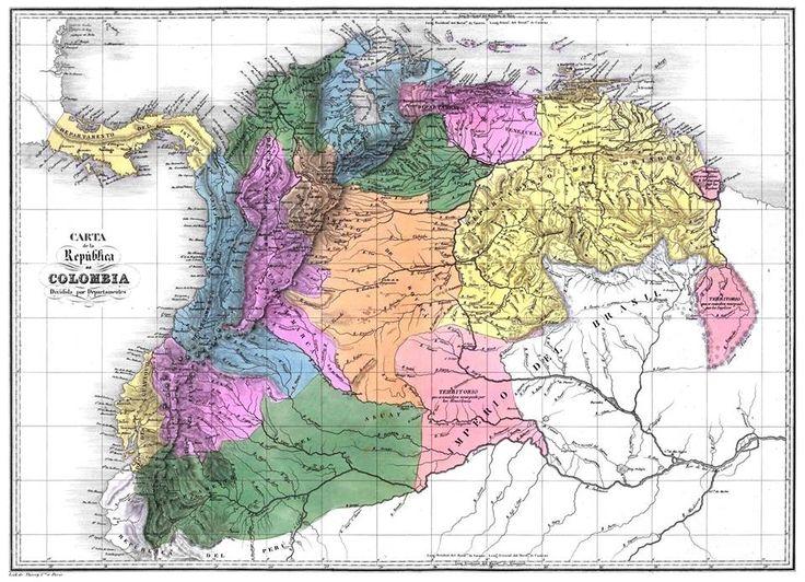 Mapa de la Gran Colombia 1811-1830, nótese que el mapa de Venezuela corresponde con en territorio de tierra firme de 1528 que en 1777 fue constituido en Capitanía General de Venezuela, se establece como frontera oriental los 1000 km del Rio Esequibo