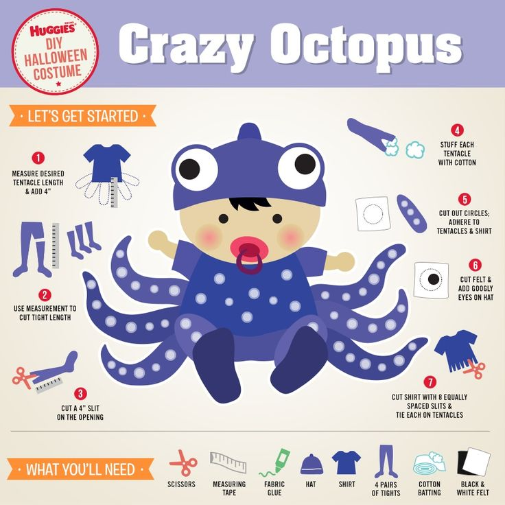 "Looking for an easy DIY Halloween costume for your baby? Turn them into a crazy octopus!  1. Measure desired tentacle length from the bottom of the shirt & add 4"" 2. Use measurement to cut tight length 3. Cut a 4"" slit on the opening of each tentacle 4. Stuff each tentacle with cotton 5. Cut out circles from felt; adhere to tentacles & shirt 6. Take 2 felt circles & add googly eyes on hat 7. Cut bottom of shirt with 8 equally spaced slits & tie each on tentacle"