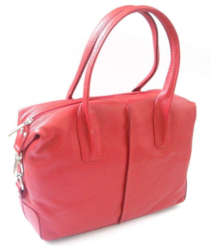 Handtasche aus Echtleder - rot - ca. 32 cm x 34 cm mit Reißverschluss  www.crown-bird.eu