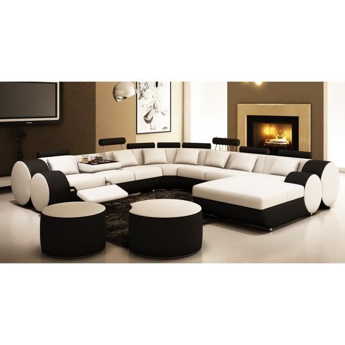 Canape Panoramique Cuir Blanc Et Noir Roma Canape Panoramique Cuir Canape Panoramique Canape