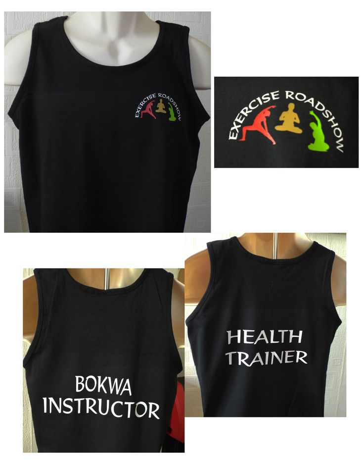 Vinyl printed athletic vests for exercise instructors.