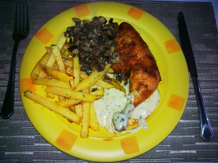 Roast chicken + french fries + mushrooms + cheese-sour cream-herbs sausage