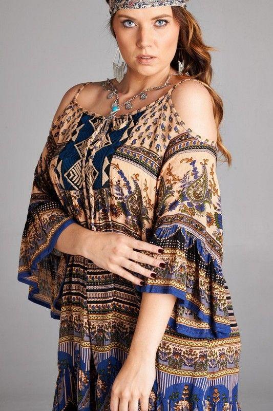Velzera Plus Size Blue Tan Ethnic Embroidery Gauzy Cold Shoulder Tunic Dress