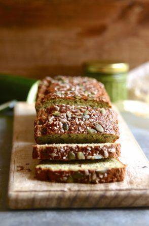 Gluten free zucchini and basil pesto seed bread