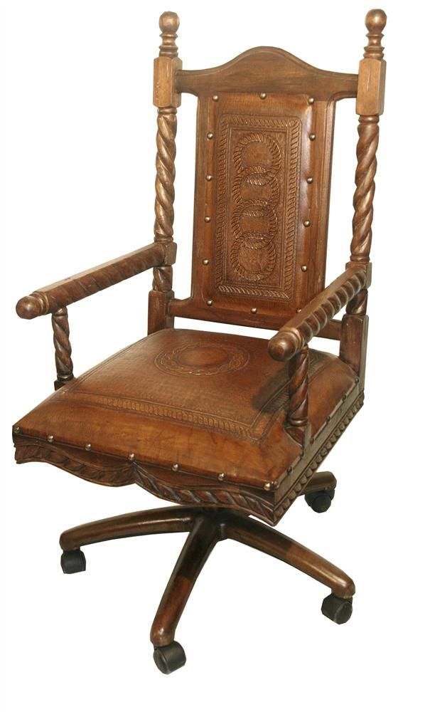 Mediterranean+Style+Colonial+Leather+Swivel+Office+Chair