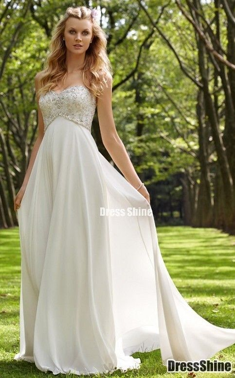 Flowy wedding dress with a little detail - just add sleeves