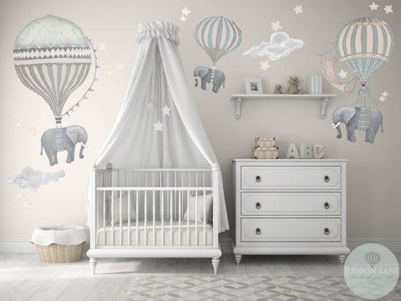 ¡Nuevo! Med Set, 3 elefantes, globos de aire caliente, neutral, 2 nubes, estrellas, luna, vivero, bebé, aspecto pintado a mano, móvil, calcomanías de pared de tela