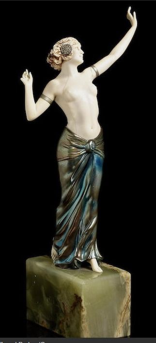 Bonhams : Ferdinand Preiss (German, 1892-1943) 'Salome Dancing' a Cold-Painted Bronze and Carved Ivory Figure, circa 1920
