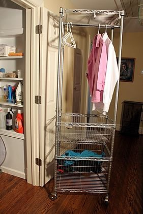 Hallway Laundry Closet and Ironing Center--a solution for small spaces. www.theyummylife.com/laundry_closet