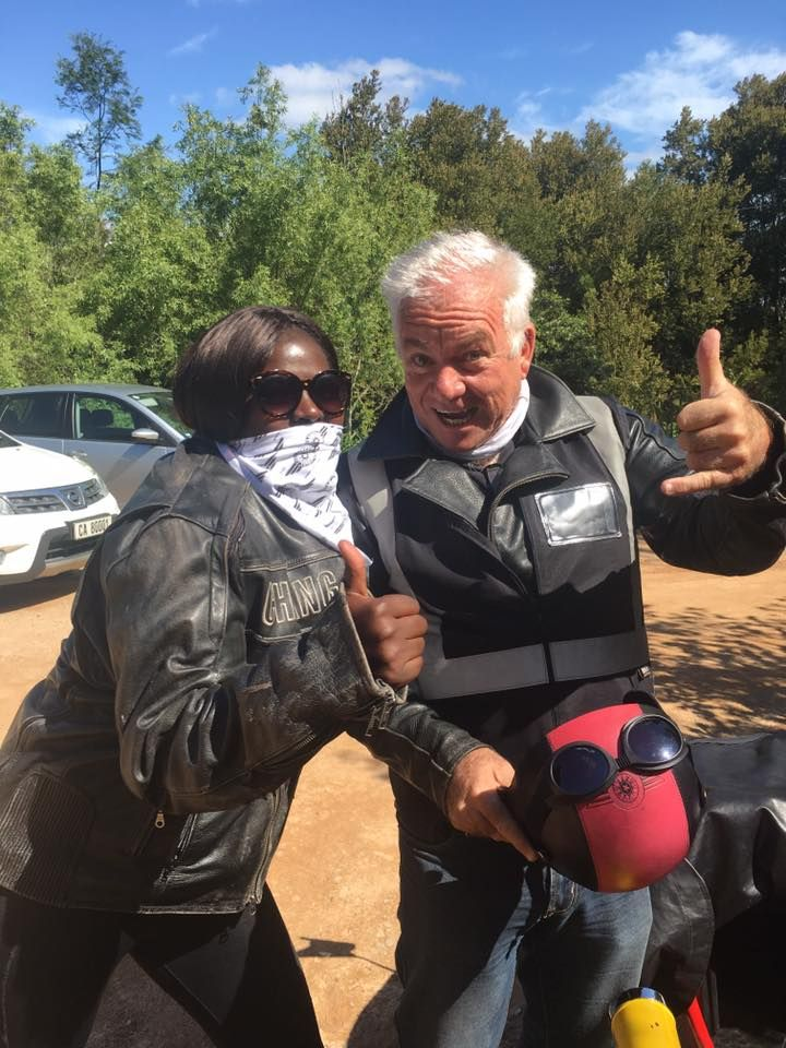 Fikile and Tim joking around. Cape Sidecar adventures in Elgin, South Africa. SA adventure summit
