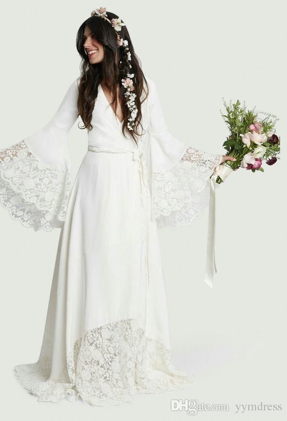 Beach Wedding Dresses 2018 Chic Boho Bohemian Long Bell Sleeve Lace Flower Brida…