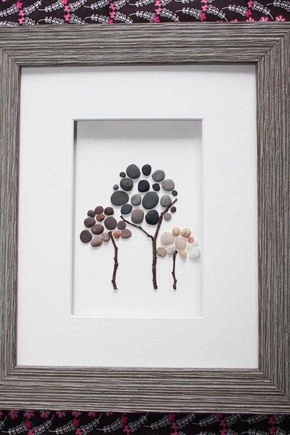 Three trees Pebble Art of Nova Scotia by Sharon by PebbleArt