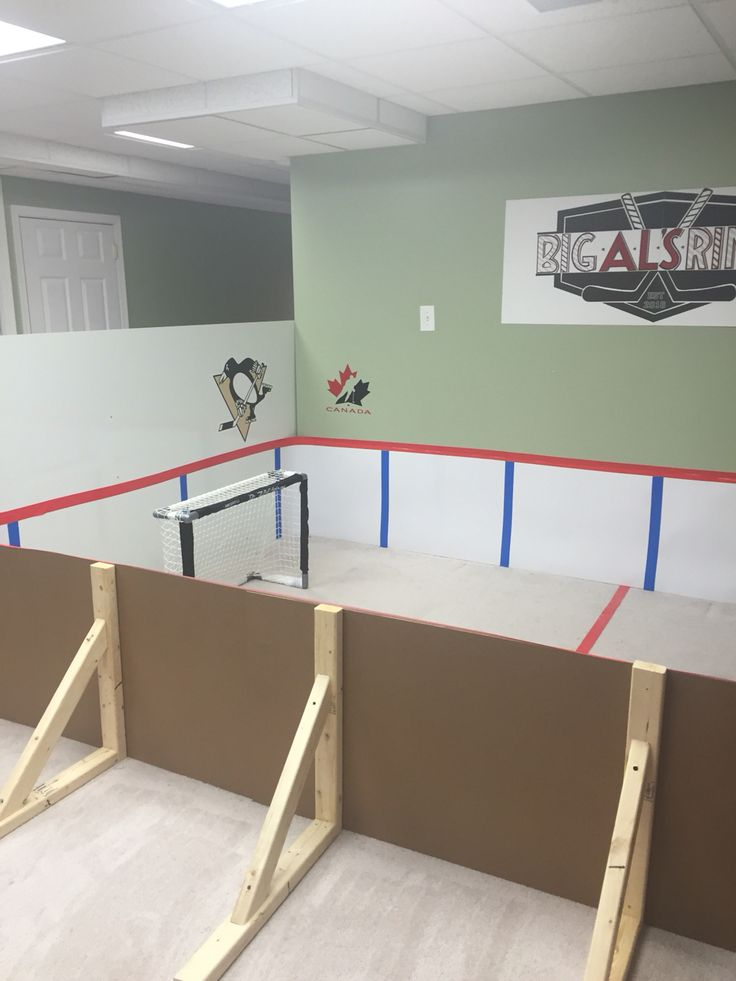 Mini Knee Hockey Rink Made By Mom Using Poster Board And Vinyl Plywood.