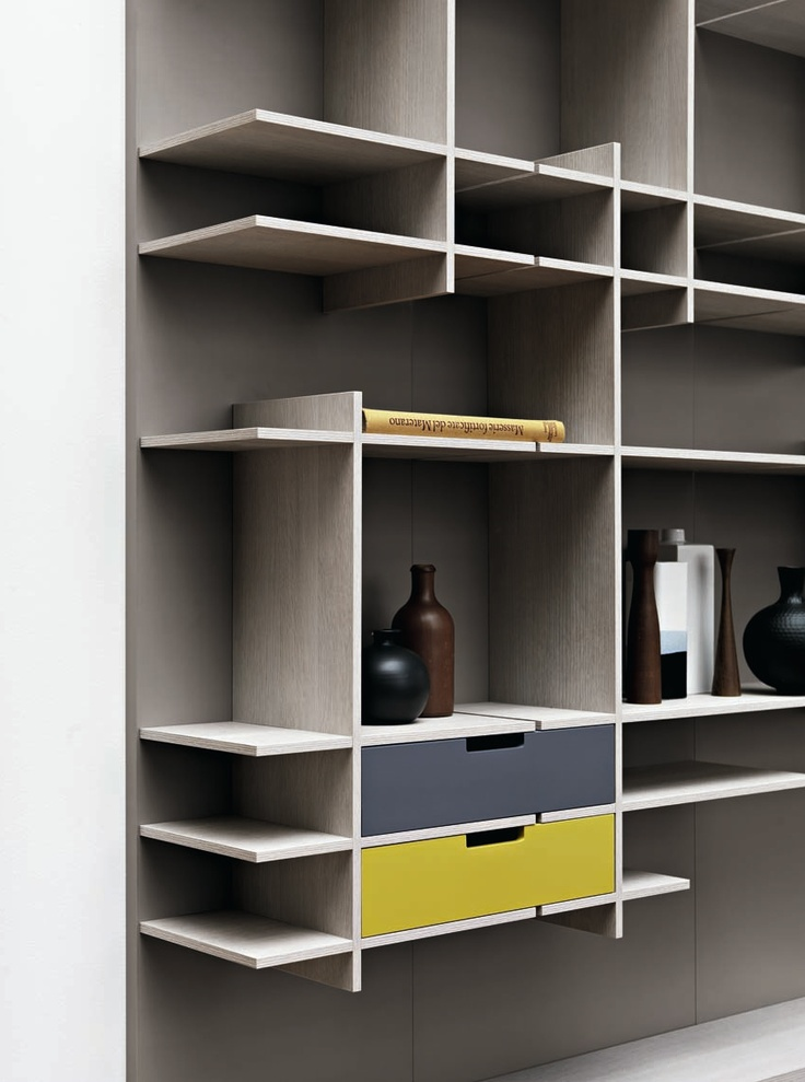 Sectional storage wall C_DAY by CESAR ARREDAMENTI | #design Gian Vittorio Plazzogna #interiors #books @Cesar Cucine & Living