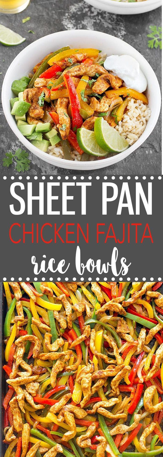 Sheet Pan Chicken Fajita Rice Bowls-  A quick, simple and mouthwatering weeknight dinner that makes great leftovers!   via @easyasapplepie