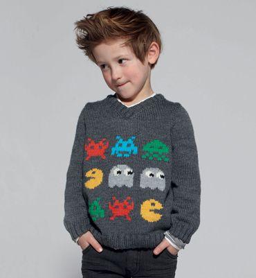 Modèle pull col V jacquard - Modèles tricot enfant - Phildar