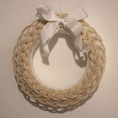 Věneček pro romantiky, White natural wreath, nature, rattan, woven, weaving, advent, christmas decoration