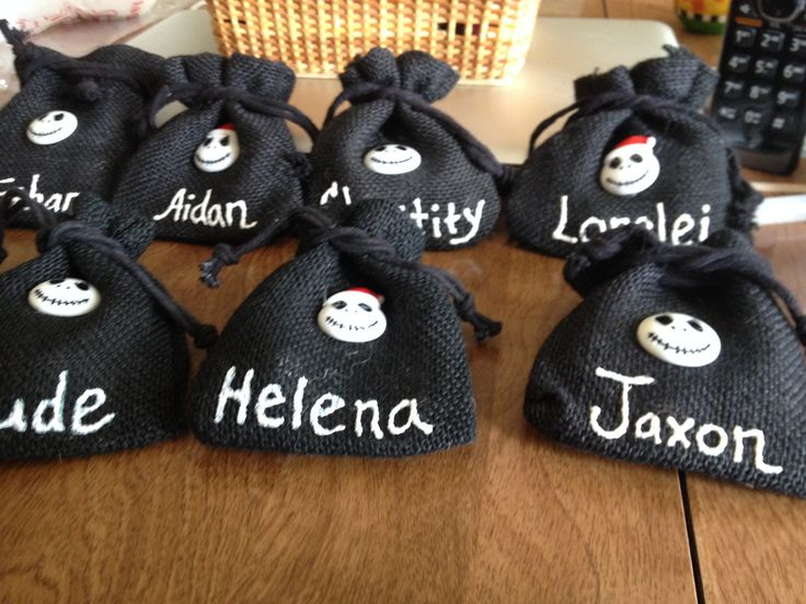 Nightmare Before Christmas Birthday Party Ideas Part - 30: I Found These Little Burlap Bags On Clearance At Hobby Lobby. I Used Puff  Paint To Add The Names Of Our Young Guests And Glued A Nightmare Before  Christmas ...
