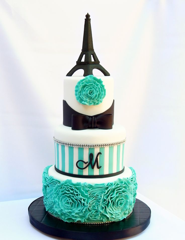 Birthday Cakes - Eiffel Tower- gum paste- 5/7/9 inch tiers