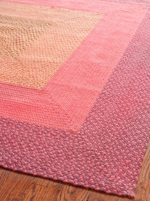 braided rug with concentric squares