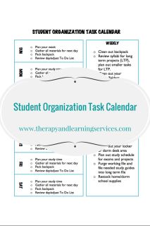 FREE: Print this handy task calendar to help students of all ages learn to get organized with daily, weekly and monthly tasks. No more forgetting homework, misplacing papers and messy backpack.