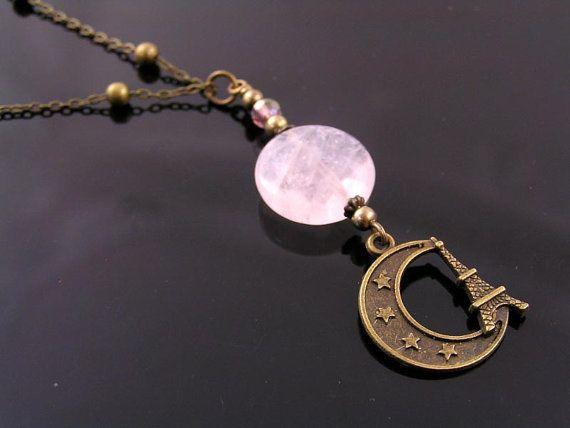 Crescent Moon Pendant with Eiffel Tower Charm Necklace Paris