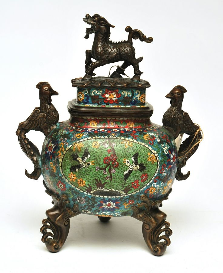 http://shop.grahamgeddesantiques.com.au/chinese-decorative-objects/  Chinese Cloisonne Censors