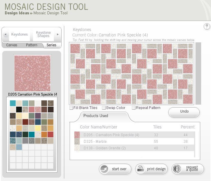 Lauren and other readers have mentioned that local retailers don't even know that this Dal-Tile Mosaic Design Tool exists. To be sure, it's wicked fun and a very dangerous way to waste lots of time. That said, I only wish there were (1) a preview feature and (2) a way to make the whole thing …