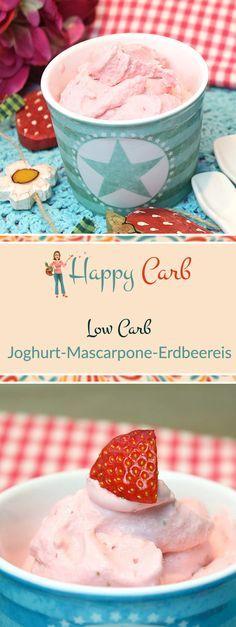 Leckeres und cremiges Low Carb Erdbeereis mit Mascarpone, Joghurt, Limettensaft sowie Vanille. Auch als perfekte Rezept- Basis für deine eigene Eiskreation. Low Carb Rezepte von Happy Carb. https://happycarb.de/low-carb-rezepte/