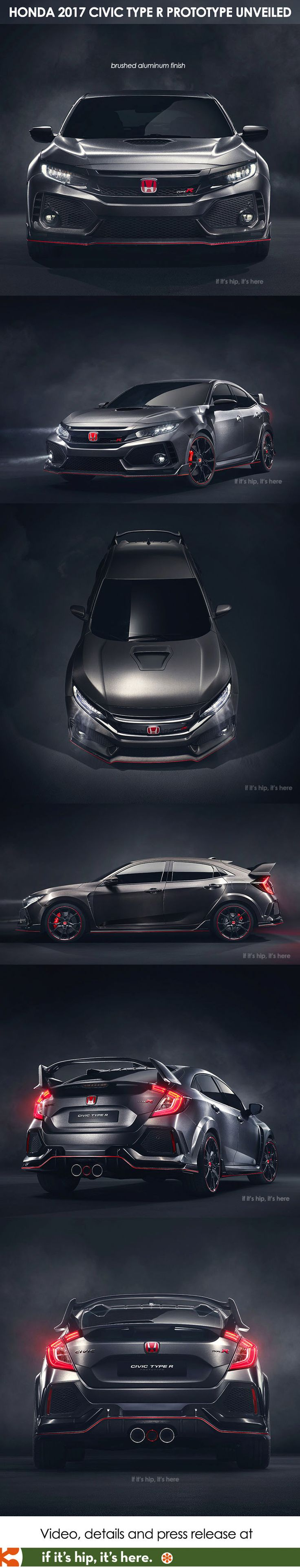 Sneak peek at the radical new brushed aluminum finish Honda Civic Type R which will be the first first-ever Honda-badged Type R in the U.S.