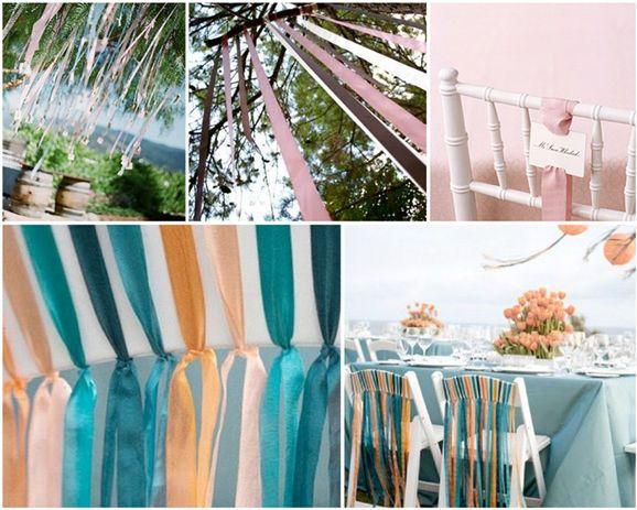 rubans et couleurs corail-bleu