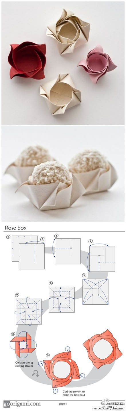 templates for rose boxes: Rose Boxes, Paper Rose, Idea, Origami Boxes, Origami Rose, Paper Boxes, Diy, Paper Cups, Flower