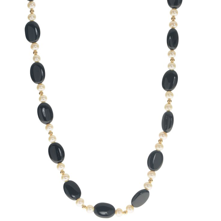 Imperial Pearls For You 14K Gold White Freshwater Pearl and Oval Black Onyx Necklace (18 14KY Wht FWP & Onyx Necklace), Women's, Size: 18 Inch, Yellow