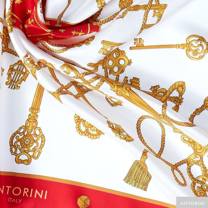 ANTORINI Silk Scarf in Red with Keys
