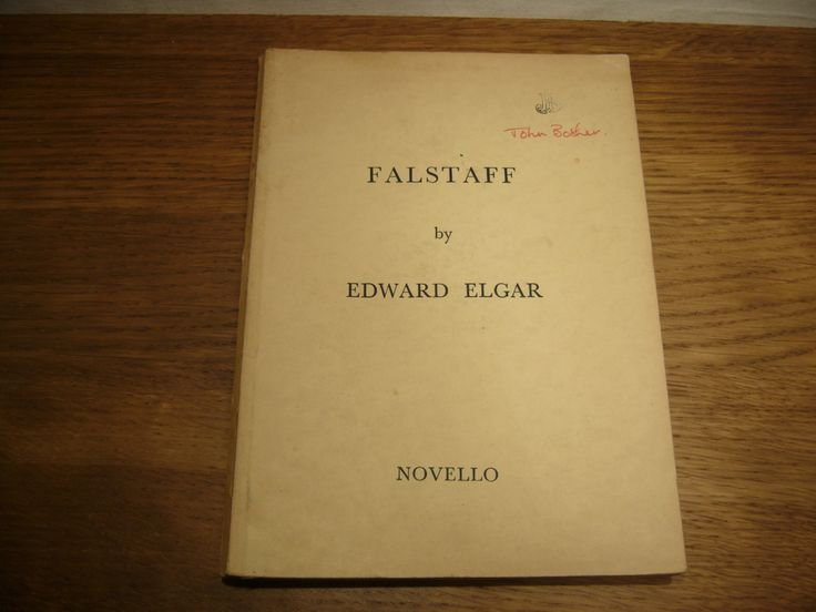 Vintage 1940s music score of Falstaff by Edward Elgar published by Novello